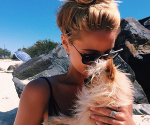 girl, summer, and dog image