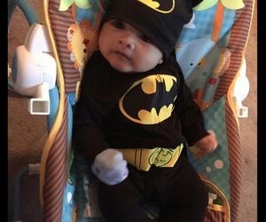 baby, batman, and Halloween image