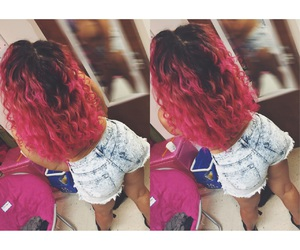 breast cancer, colored hair, and curls image