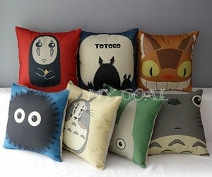 anime, pillows, and totoro image