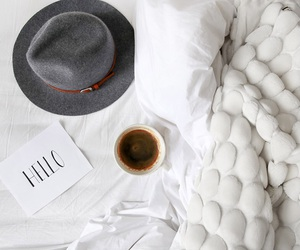 coffee, hat, and hello image