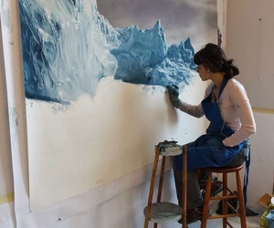 art, painting, and blue image