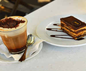 chocolate, cake, and coffee image