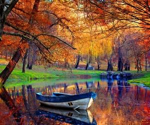 boat, pink, and lake image