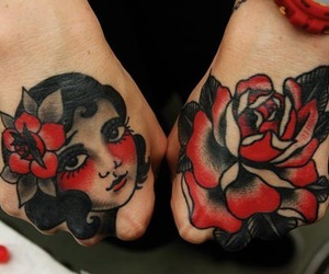 flower, girl, and hand tattoo image