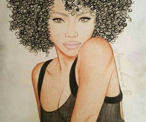 curls, drawing, and hair image