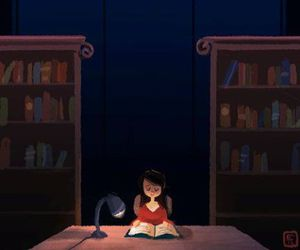 book, library, and night image