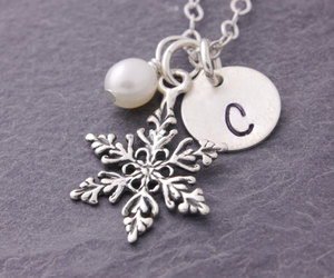 etsy, snow flake, and christmas necklace image