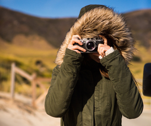 camera, jacket, and cozy image