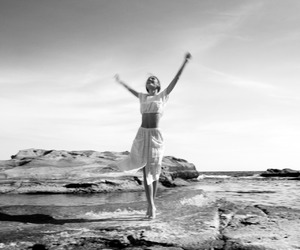 black and white, beach, and free image