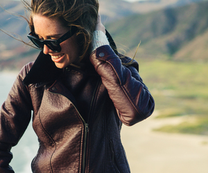 jacket, leather, and sunglasses image