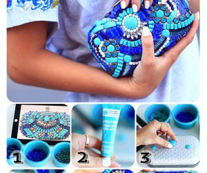 diy, blue, and clutch image