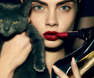 cat, model, and cara delevingne image