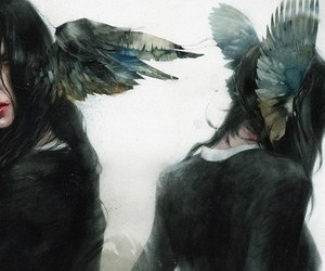 art, girl, and wings image