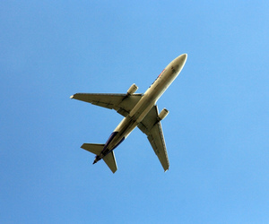airplane, blue, and blue sky image