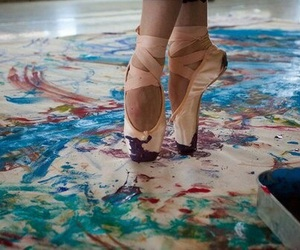 dance, painting, and pointe shoes image