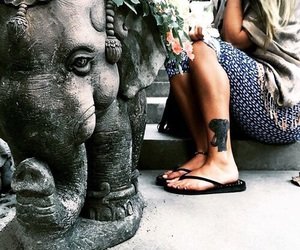 elephant, girl, and tattoo image