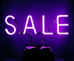 sale, neon, and purple image