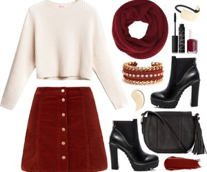burgundy, fashion, and outfit image