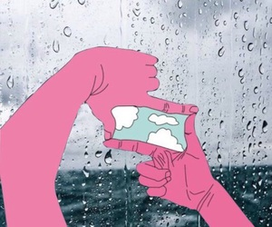 rain, pink, and clouds image