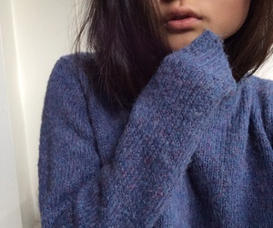 blue, blue sweater, and brown hair image