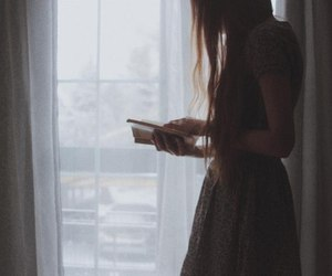 book, girl, and window image