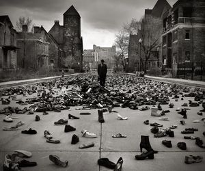shoes, photography, and black and white image