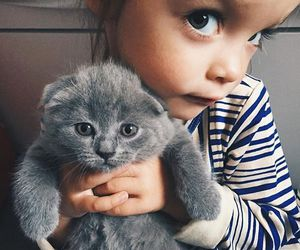 cat, girl, and baby image