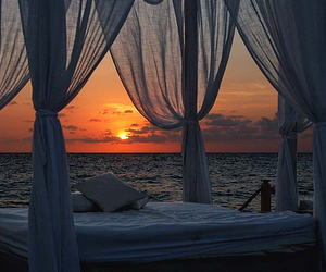 sunset, bed, and beach image