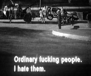black and white, ordinary, and subtitles image