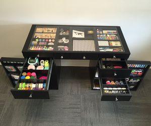 desk, paintbrushes, and diy image