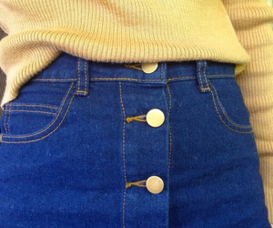 yellow, denim, and skirt image