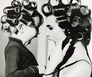 hair, black and white, and mom image