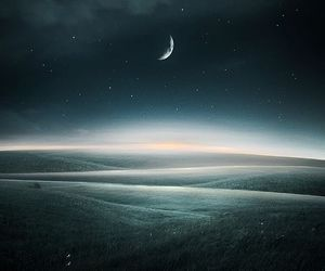 hills, moon, and night image