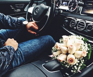 flowers, boyfriend, and car image