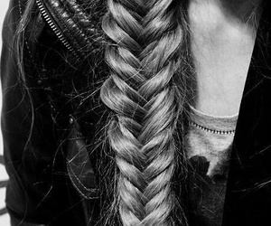 hair, braid, and black and white image
