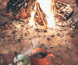 fire, tea, and autumn image