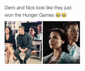 nick jonas, demi lovato, and funny image