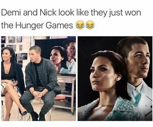 nick jonas, demi lovato, and funny image