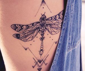 tattoo, dragonfly, and ink image