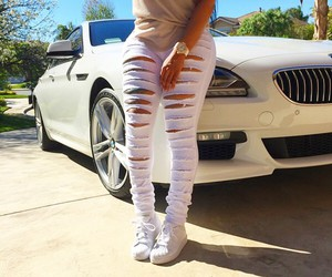bmw, white jeans, and blac chyna image