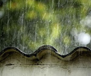 rain, rain drops, and metal roof image