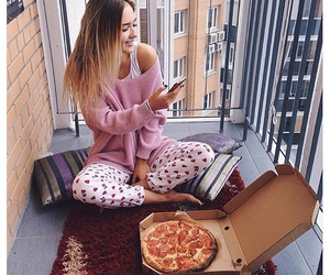 pizza, pajamas, and pink image
