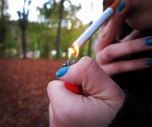 autumn, blue, and cigarete image