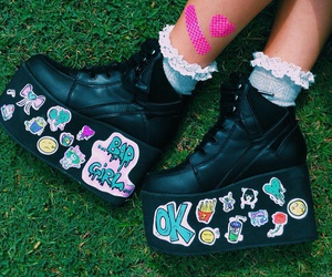 Harajuku, stickers, and platform boots image