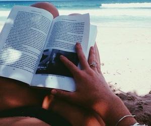beach, book, and ocean image