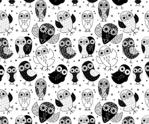 cartoon, owl, and black and white image