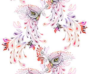 owl, pattern, and cartoon image