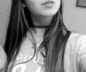 black and white, choker, and clothes image