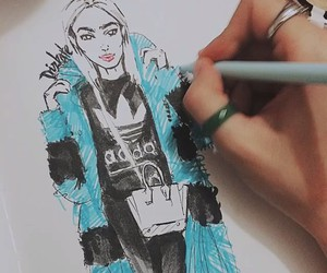 art, drawing, and fashion illustration image